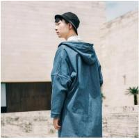 【服装】秋季新款原创潮流蝙蝠袖宽松中长款男士外套连帽牛仔风衣男