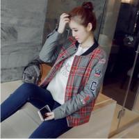 【服装】2017秋冬新款韩版女装百搭立领字母格子加厚毛呢外套