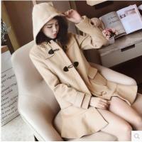 【服装】冬装新款女装2017 韩版百搭连帽长袖纯色中长款毛呢大衣外套