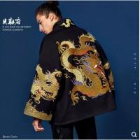 【男装】贝勒府中国风刺绣金龙袍外套男秋冬宽松大码和服大衣潮流嘻哈汉服