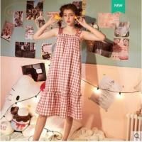 【睡衣】Gukoo/果壳正品Hello Kitty睡裙女夏吊带家居服睡裙可爱全棉睡裙