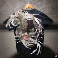 【男装】国潮三省六部原创夏季中国风重工刺绣朱雀樱花大码男士短袖T恤