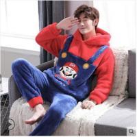 【睡衣】冬季法兰绒男款睡衣男冬卡通男士加厚珊瑚绒青少年学生家居服套装